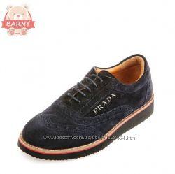 Гламурные школьные кожаные туфли Prada черные и синие 107207120