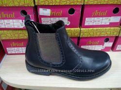 Кожаные деми ботинки на резинках Lapsi 1456 синие