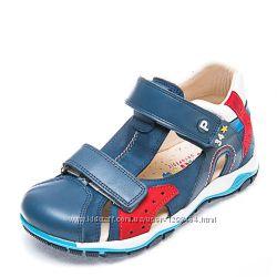 Кожаные сандалии для мальчика Panda 107294 синиекрасные