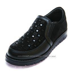 Кожаные туфли с блестящими вставками Prada 107475