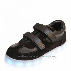 Кожаные кроссовки с мигалками подсветкой с USB турция 107102