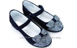 Натуральные замшевые туфли Мальвы 109Ш-321D синие р. 31-36
