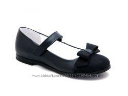 Оригинальные кожаные туфли для девочки Мальвы 109Ш-321A синие