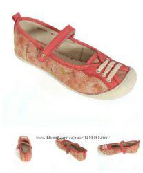 Кожаные коралловые туфельки для девочки с резиновым носком Мальвы 109Д-387