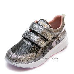 Кожаные блестящие кроссовки Pafi 107190300 графит р 31,32