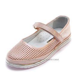 Кожаные перфорированые туфли Kemal Pafi 107788 розовые