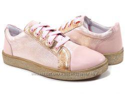 Кожаные розовые кроссовки с блеском 109109-1 Мальвы