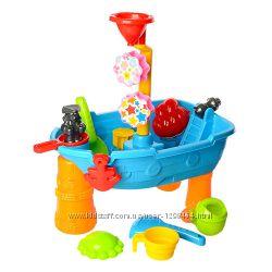 Столик песочница Морской корабль синий