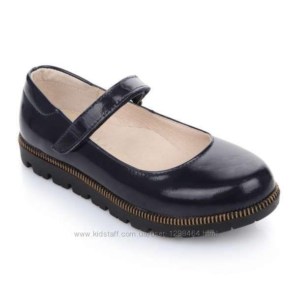 Кожаные туфли на стильной танкетке лаковые Lapsi 1487