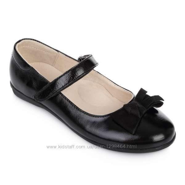 Кожаные туфли с мягким бантиком Lapsi 1268 черные