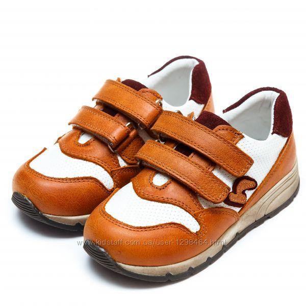 Кожаные детские кроссовки ортопеды Панда рыжие 1072244-18