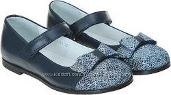 Кожаные школьные туфли Мальвы 109Ш-321D синие