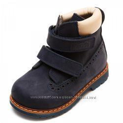 Кожаные ботинки ортопеды утепленные Panda 10701200 синий нубук