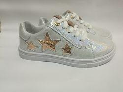 Кожаные кроссовки с перламутровым блеском и золотыми звездочками Мальвы