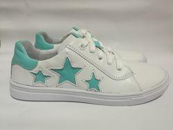 Кожаные кроссовки с мятными звездочками Мальвы