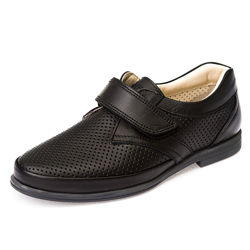 Кожаные туфли перфорация Panda 10706 черная кожа
