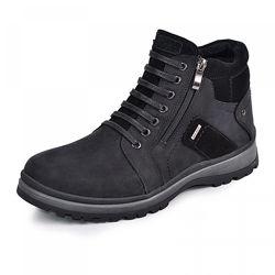 Кожаные ботинки Блек черная кожа мат