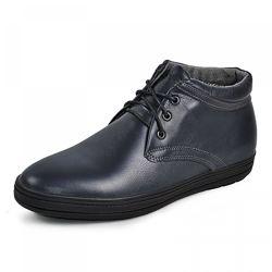 Кожаные ботинки Фози кор Черная и синяя кожа
