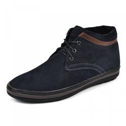 Кожаные ботинки Фози кор черный и синий нубук