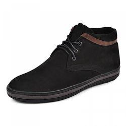 Кожаные ботинки Фози кор черный и синий замш