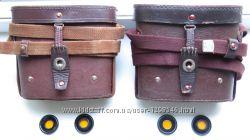 Кофр - подсумок, чехол, футляр Армейский кожаный - на бинокль и светофильтры
