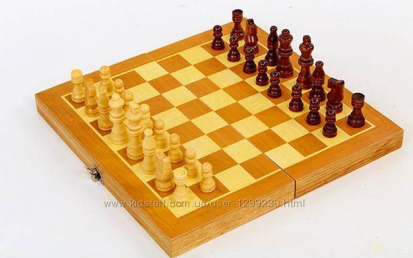 Шахматы, нарды, шашки с деревянной доской 29 см х 29 см
