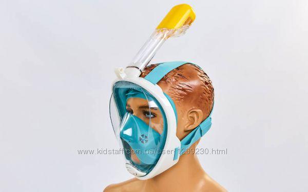 Полнолицевая маска для плавания Fullface free breath детская зеленая