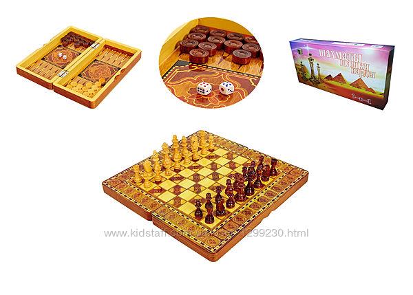Шахматы, шашки, нарды 3 в 1 с лакированной доской 40 см подарочные