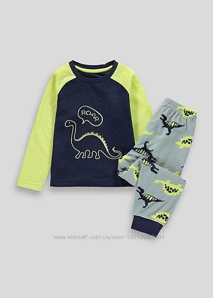 Детский флисовый пижамный комплект с динозавром на мальчика