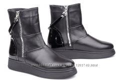 Женские ботинки  кожаные , замшевые V 1048