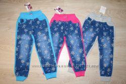 Штаны комбинированные для девочки джинс  трикотаж, пр. Венгрия