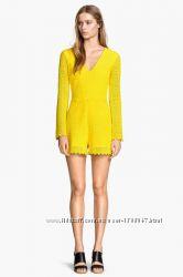 Новый  желтый хлопковый кружевной комбинезон H&M