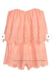 Персиковый ромпер комбинезон H&M с вышивкой