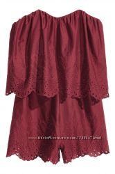 Бардовый ромпер на костях H&M