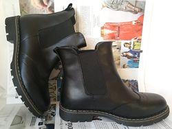 Женские черные кожаные ботинки полусапожки Timberland   весна осень