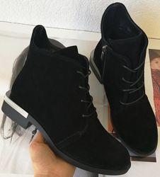 Vzuta зимние кожаные женские полу ботинки на шнуровке со змейкой стильные