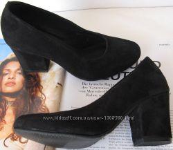 Nona женские качественные классические туфли черная замша взуття на каблук