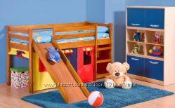 Детская кровать Нео Плюс с матрасом и горкой в комплекте