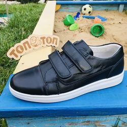 Спортивні шкіряні туфлі для підлітка на липучках