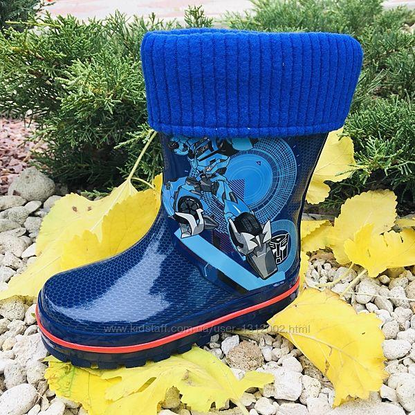 Дитячі гумові чоботи р.23-28 для хлопчика з трансформером та зємним чобото