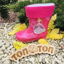 Дитячі гумові чоботи р.23-28 для дівчаток з принцесою