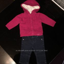 Тёплая кофта 69 месяцев и джинсы kiabi 68см 69мес