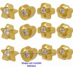 Серьги-иглы формы с хрусталем