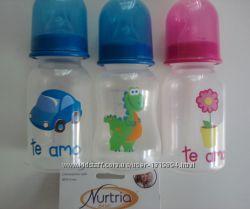 Бутылочка Nurtria США с силиконовой соской basic 125 мл 3 расцветки