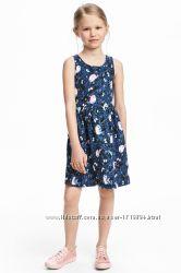 Летние хлопковые платья H&M на 6-8 лет две расцветки котики и птички