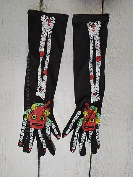 перчатки на мексиканский хэллоуин one size