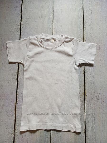 Белая плотная футболка на рост 86 92