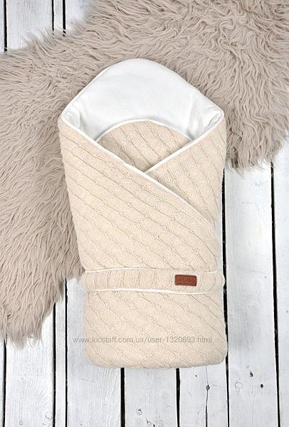 Вязаный демисезонный конверт-одеяло Magbaby Косы