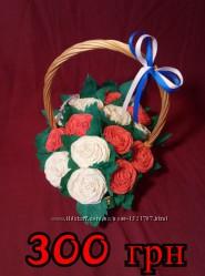 Корзина с розами из бумаги
