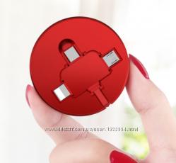 USB шнур вытяжной 3 в 1 IphonemicroUSBType C. Универсальный USB шнур.